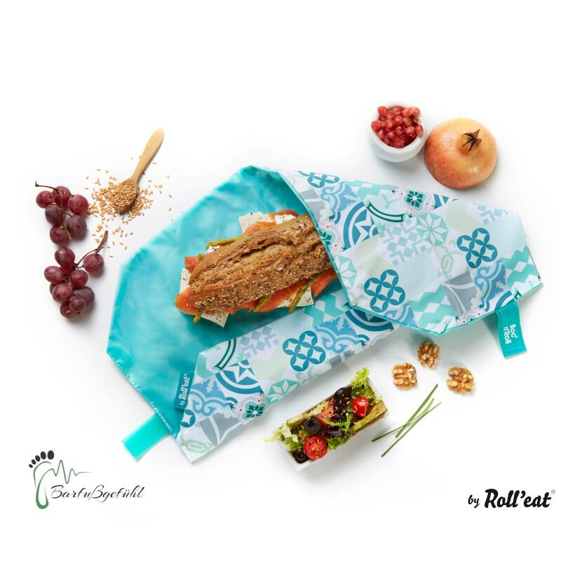 Roll′eat nachhaltige Pausenbrot-Verpackung - Patchwork-green